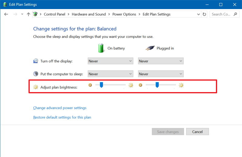 Adjust plan brightness settings in Control Panel
