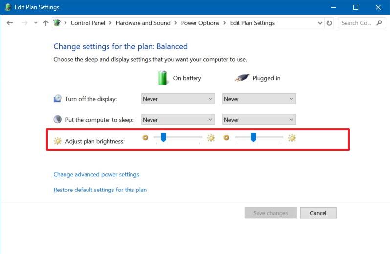 Adjust plan brightness settings in Control Panel