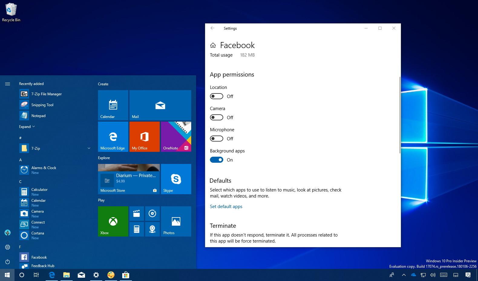App permissions on Windows 10