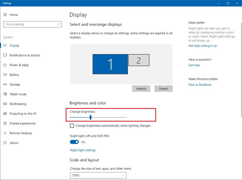 Brightness settings on Windows 10