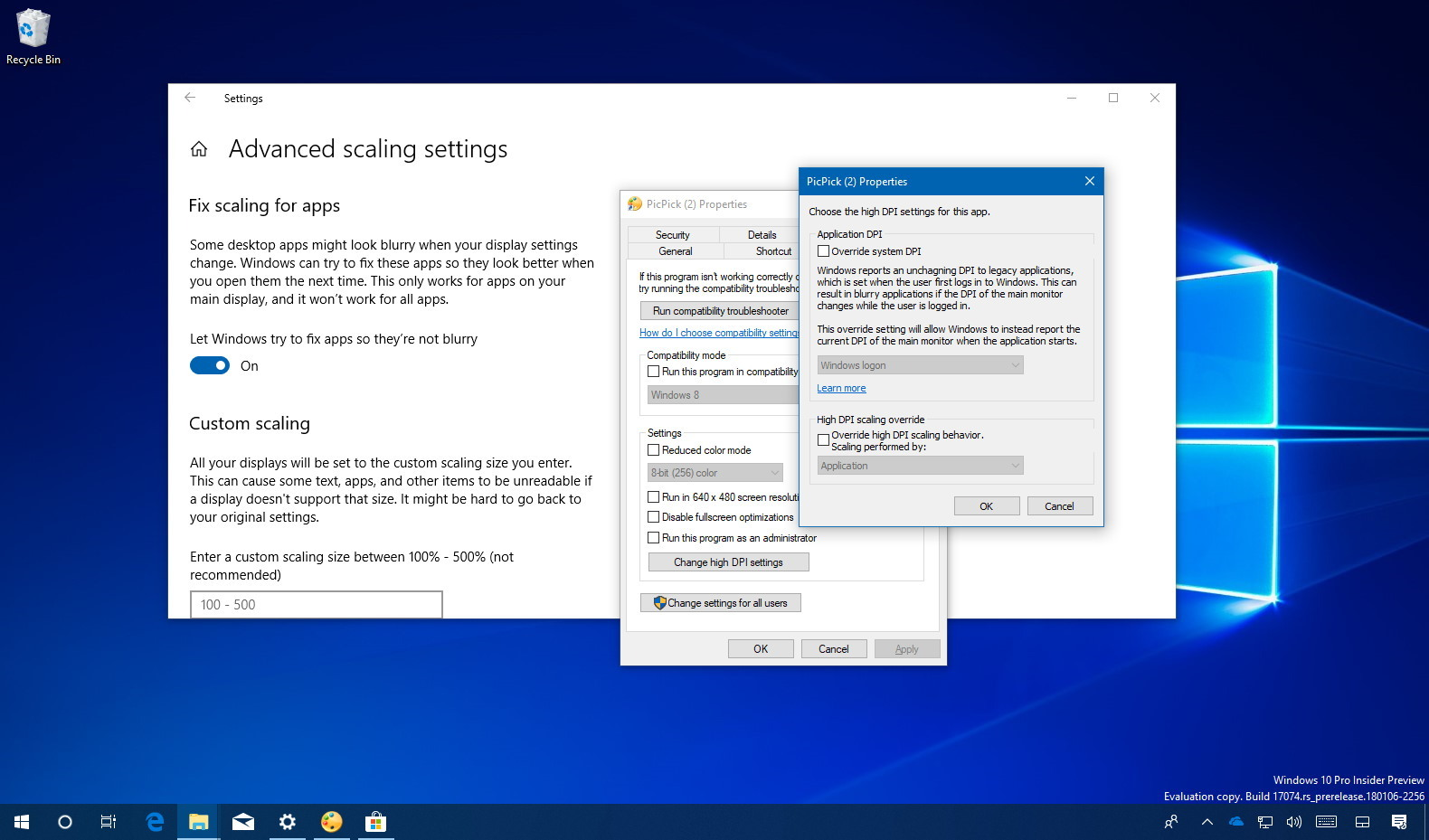 Fixing scaling causing blurry apps on Windows 10