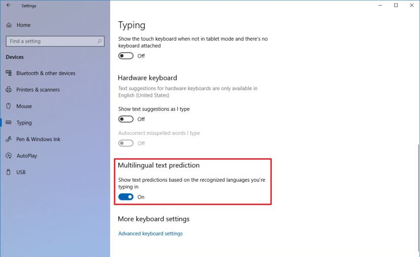 Multilingual text prediction settings
