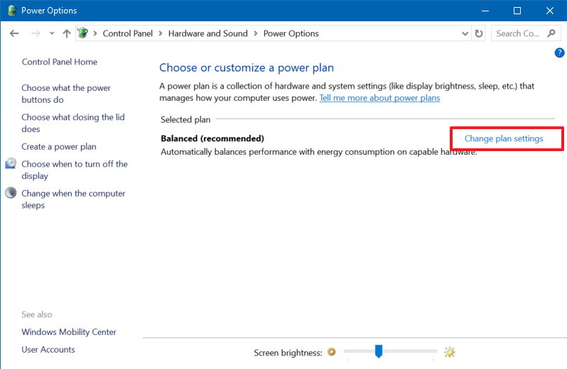 Power Options settings in Control Panel