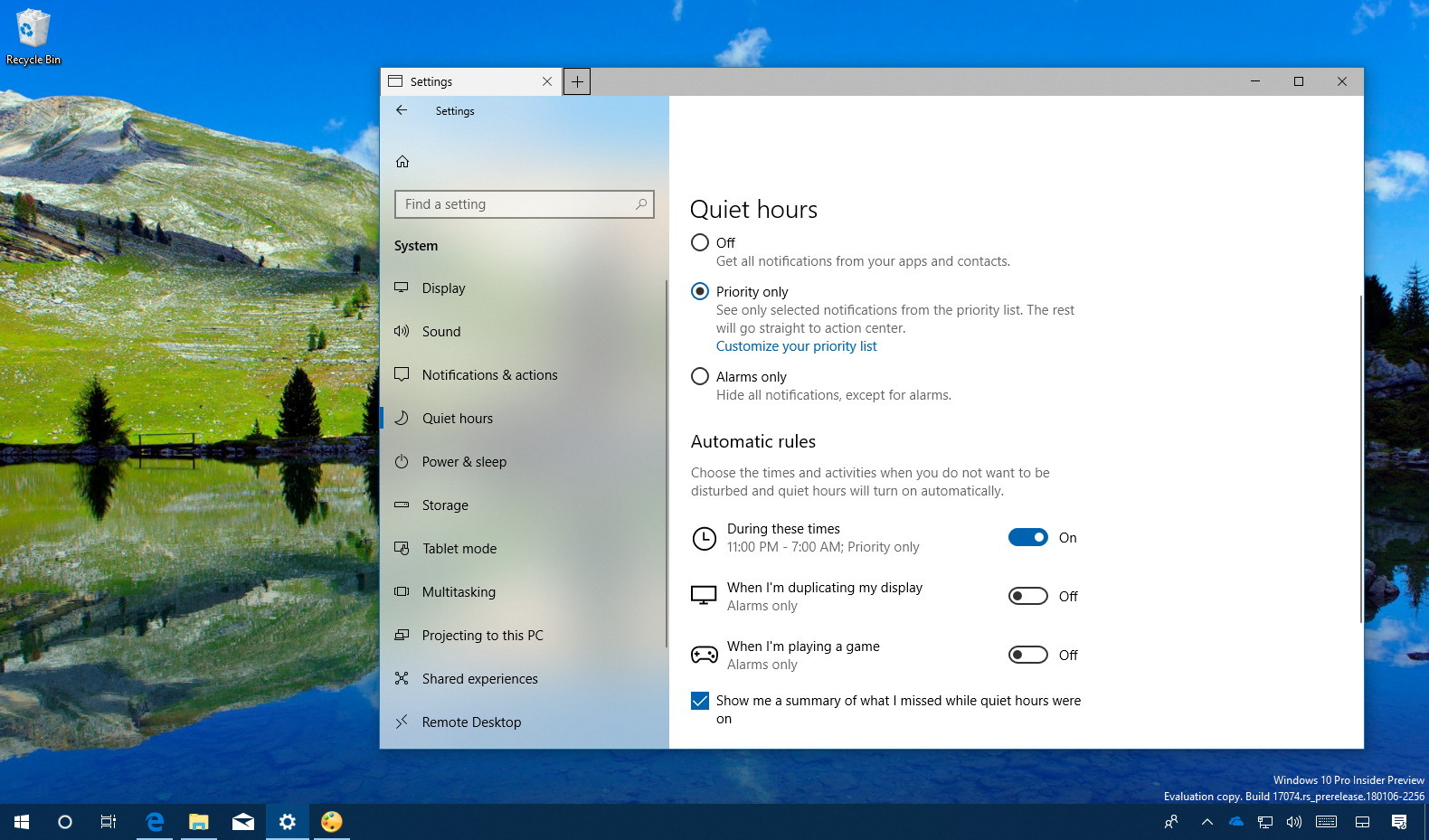 Quiet hours Automatic rules settings on Windows 10 (version 1803)
