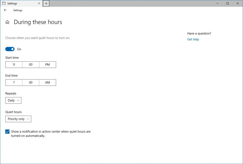 Quiet hours schedule settings