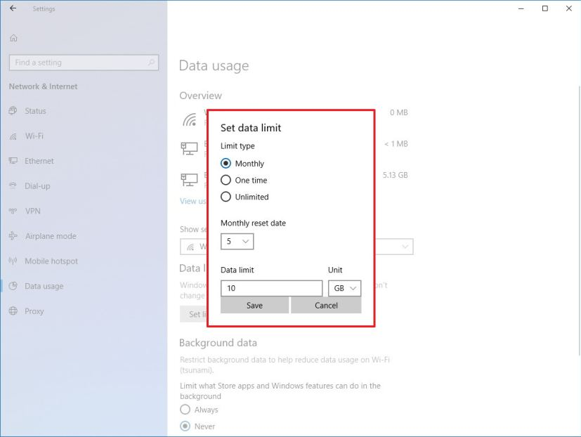 Set data limit for Wi-Fi on Windows 10