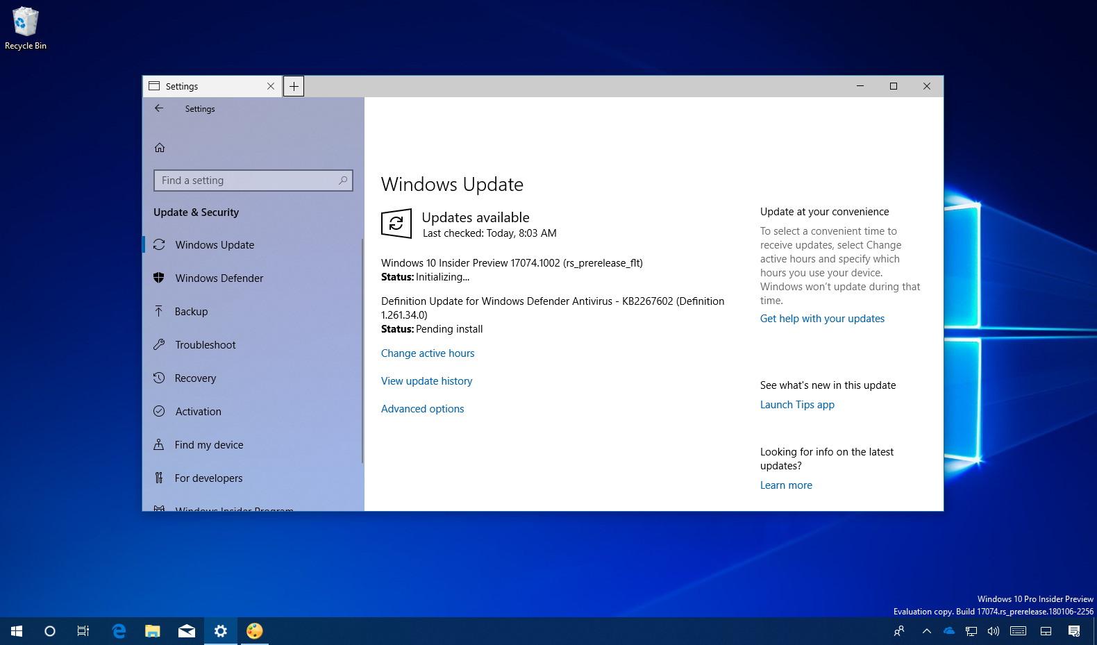 Windows 10 build 17074.1002