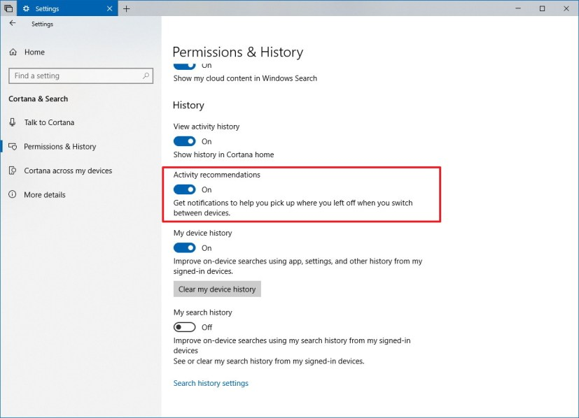 Activity recommendations options on Windows 10 Redstone 5