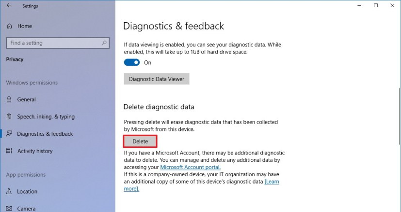Diagnostic & feedback settings on Windows 10 version 1803