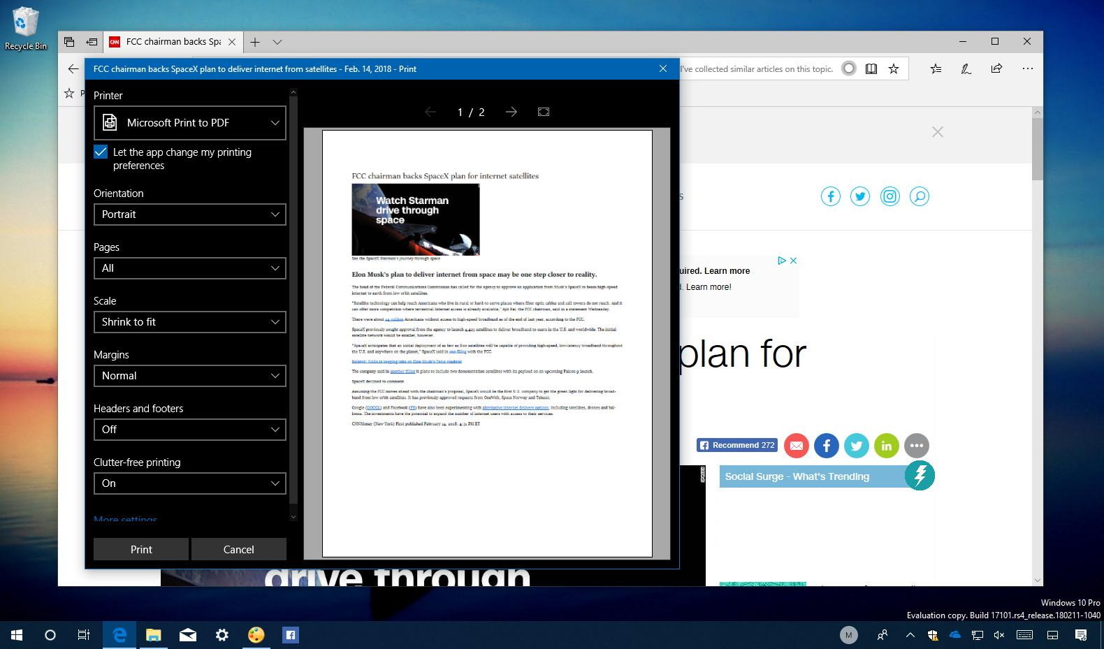 Microsoft Edge Clutter-free printing
