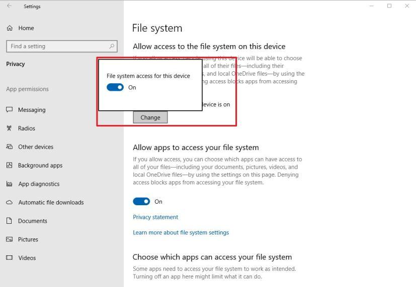 File system settings