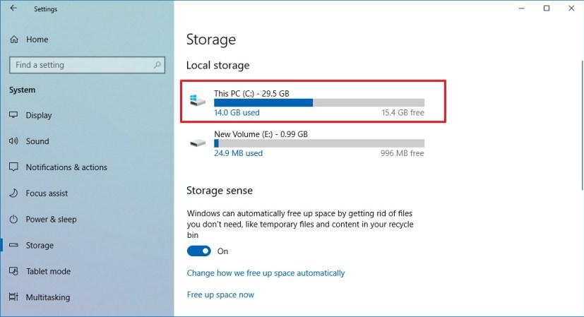 Local storage on Storage sense