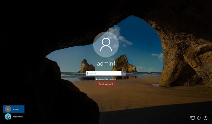 Windows 10 lock screen with Reset password option