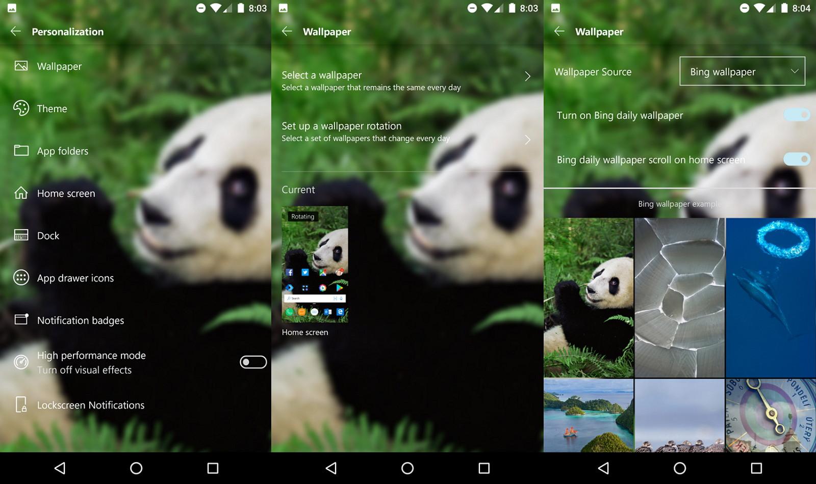 Microsoft Launcher wallpaper setup