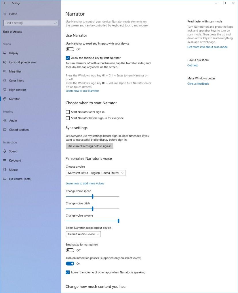 Narrator settings on Windows 10 version 1803 (part 1)
