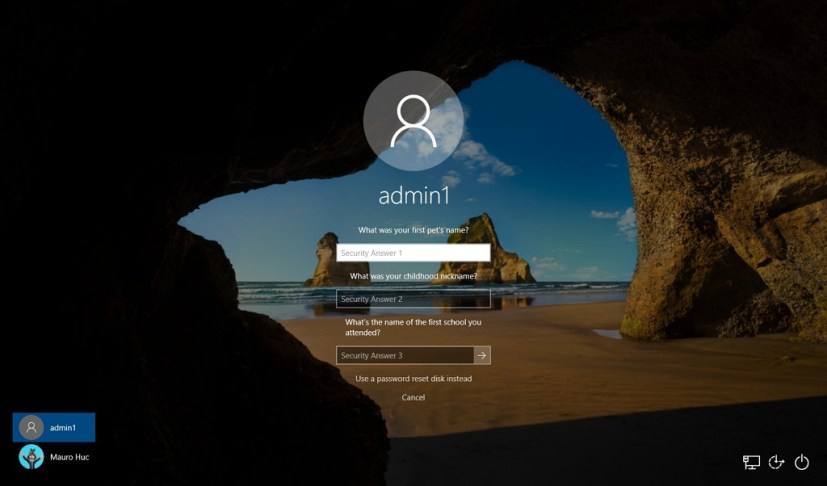 Reset local account answering security questions on Windows 10