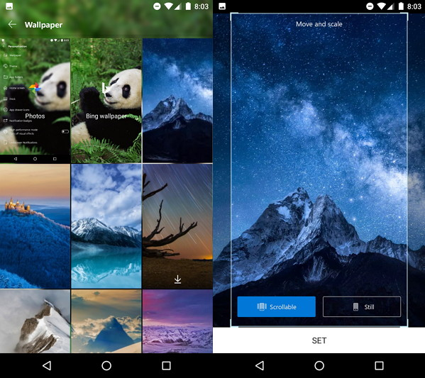 Select single wallpaper on Microsoft Launcher