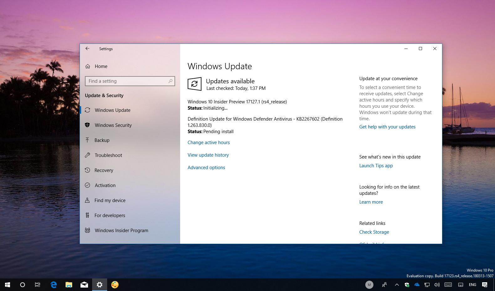Windows 10 build 17127