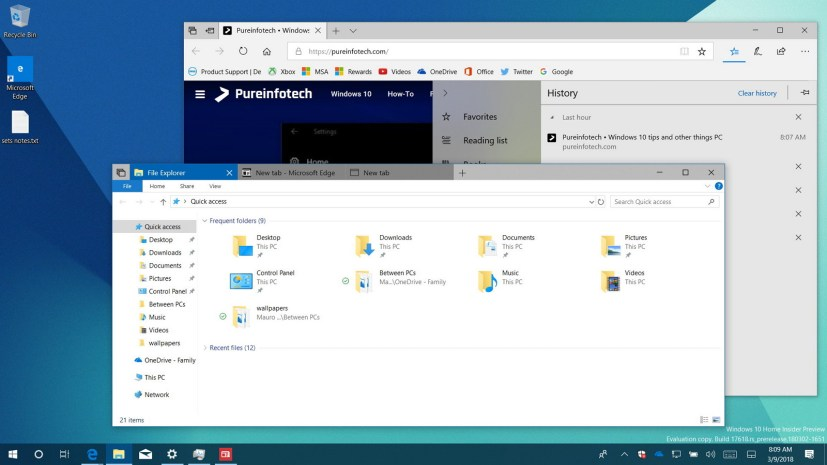 Windows 10 build 17618 tabs in File Explorer
