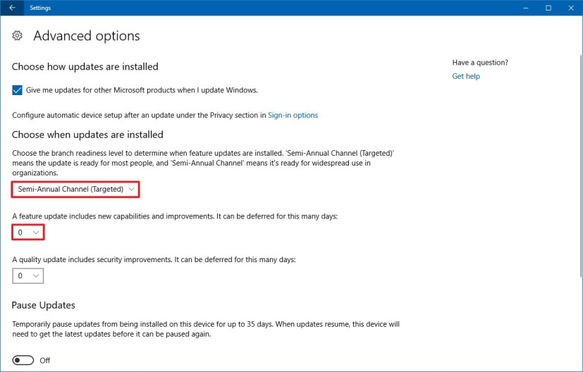 Windows 10 update advanced settings