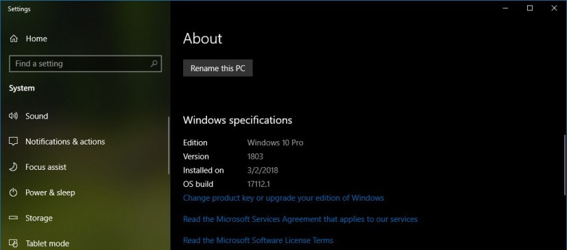 Windows 10 version 1803 information