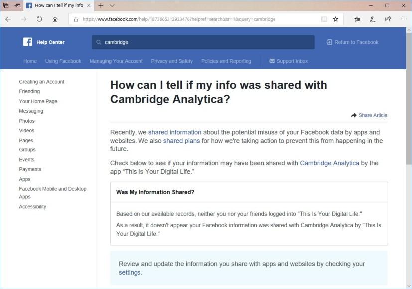 Facebook help center to check Cambridge Analytica