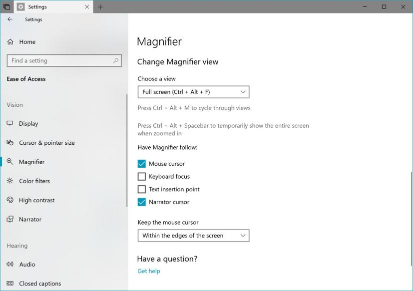 Magnifier settings changes on Windows 10 build 17643