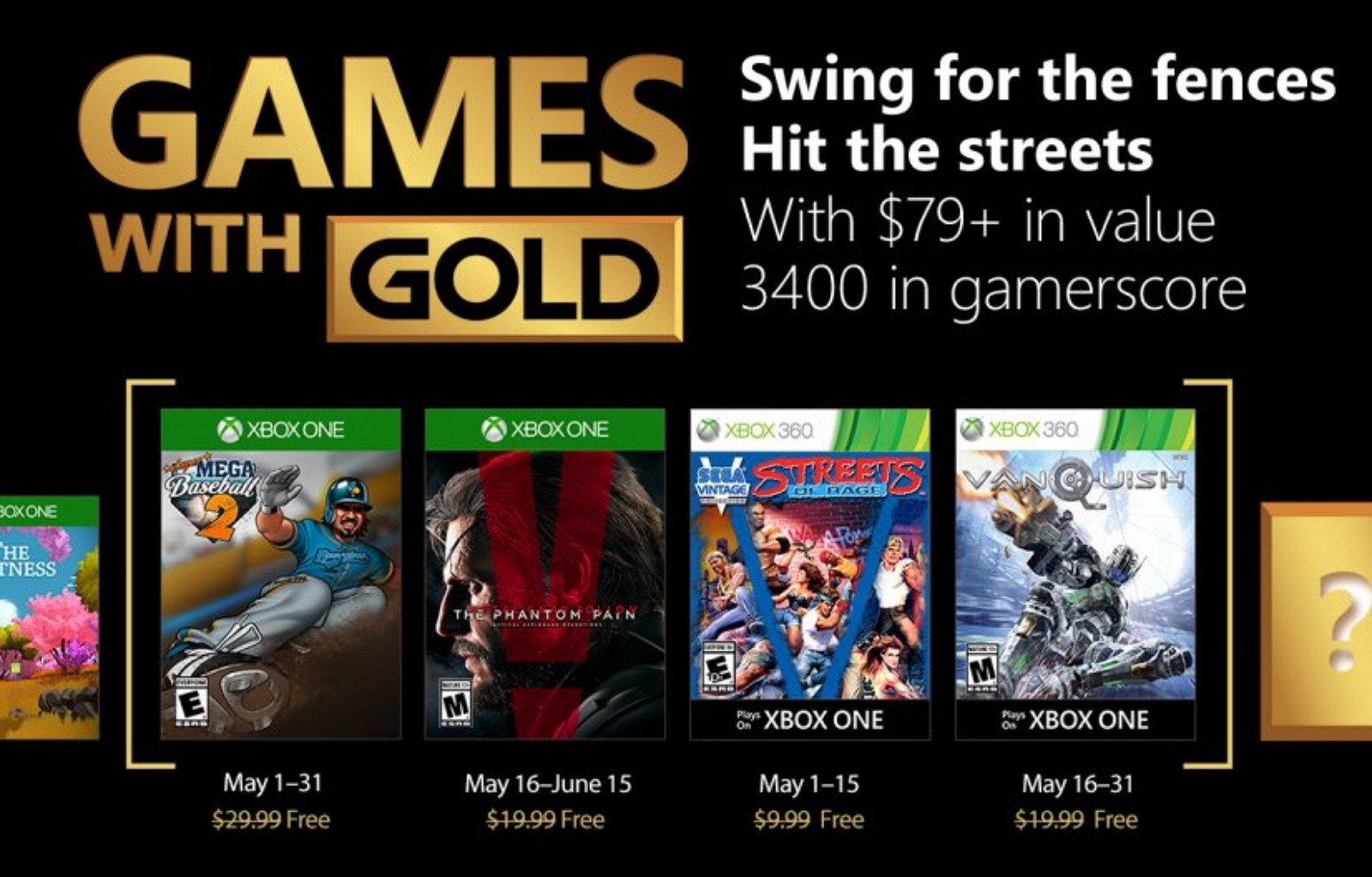 Xbox Games with Gold for May 2018
