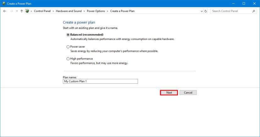 Windows 10 new power plan configuration
