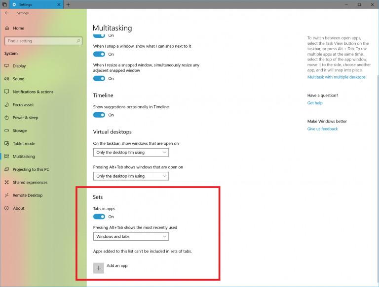 Sets settings on Windows 10 version 1809