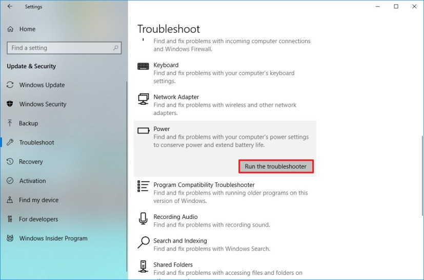 Power troubleshoot settings