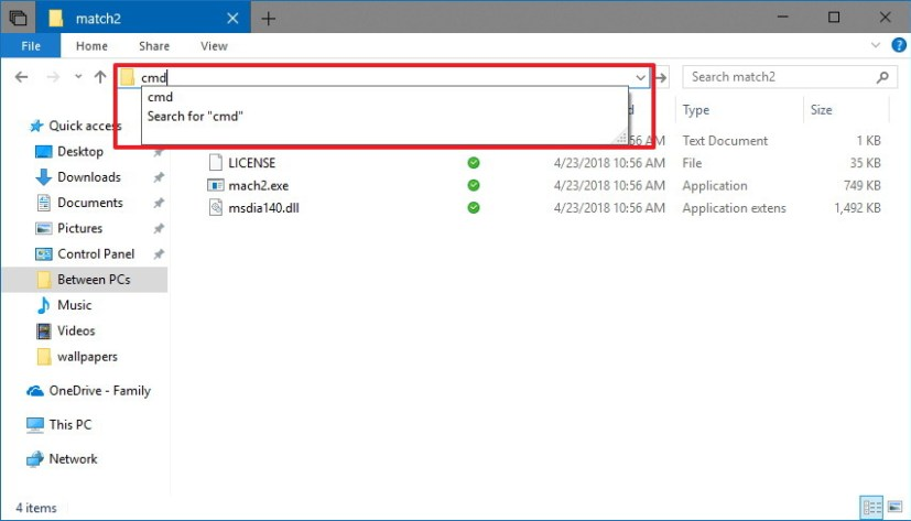 Launch Command Prompt on folder location using File Explorer