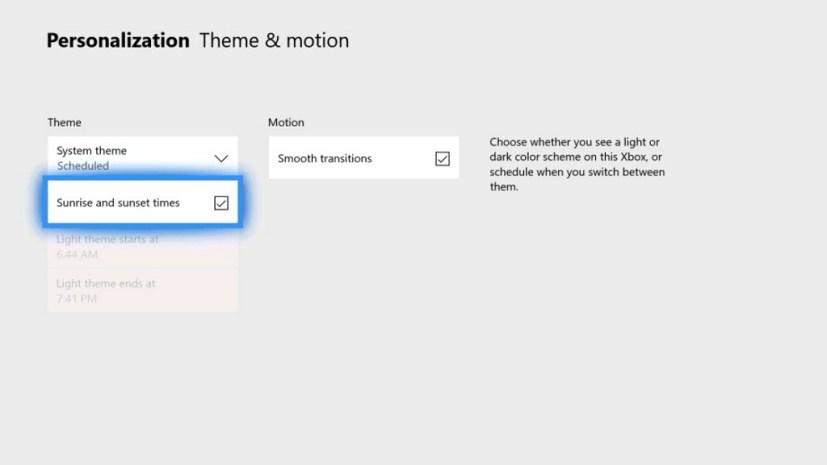 Xbox One theme settings