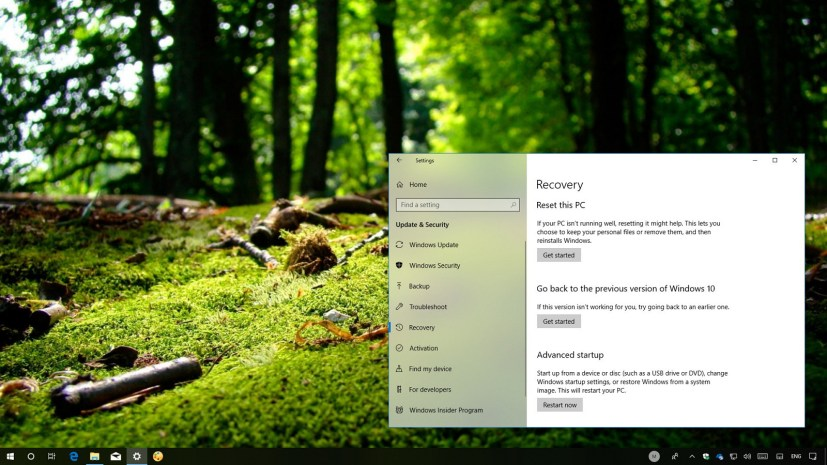 Windows 10 recovery options to remove version 1803