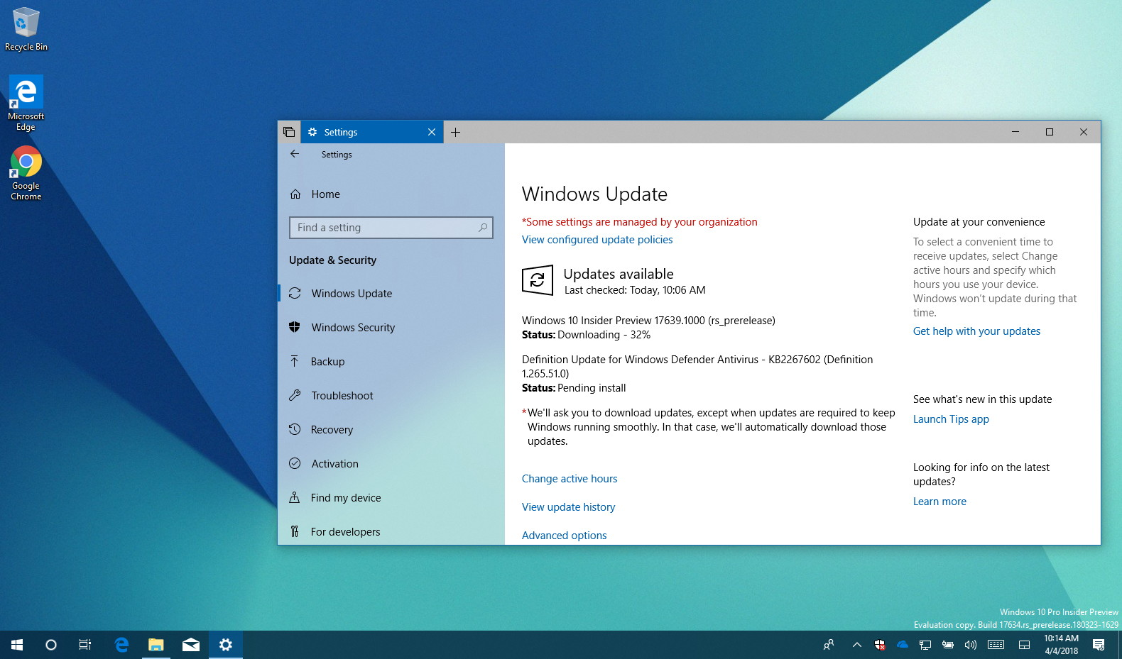 Windows 10 build 17639