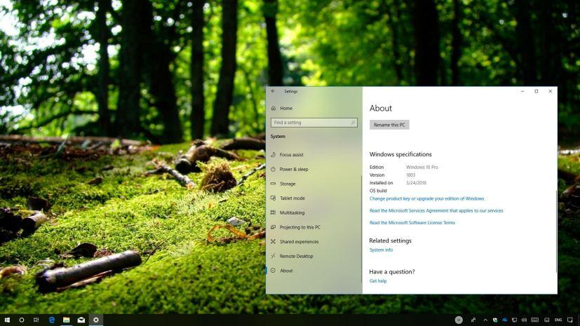 Windows 10 version 1803 clean install