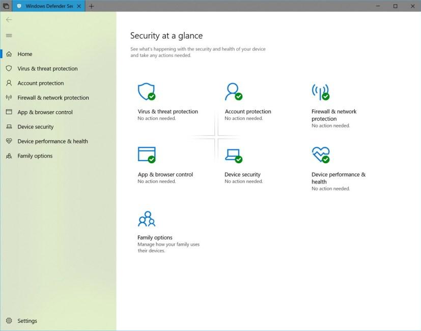 Windows Defender Security Center on build 17650