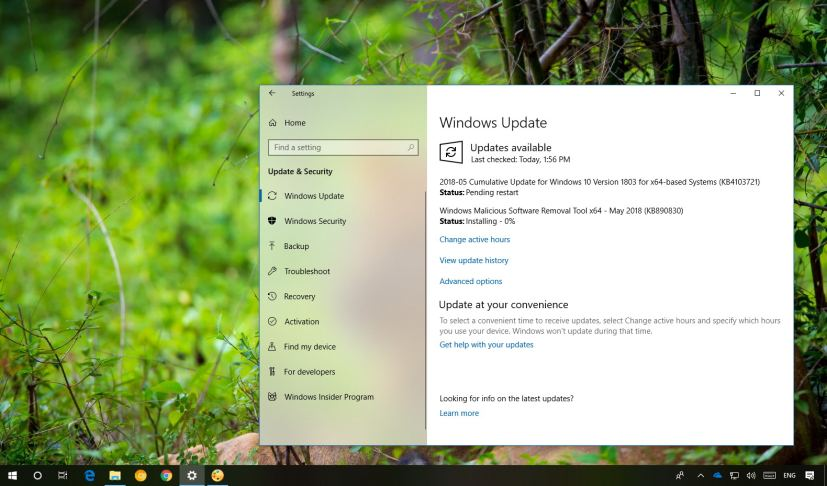 KB4103721 update for Windows 10 version 1803 releases