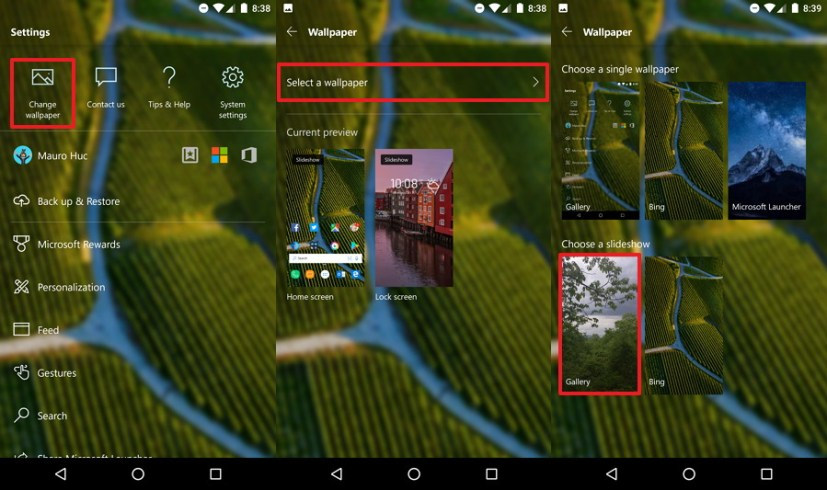 Microsoft Launcher Lock screen with custom slideshow option