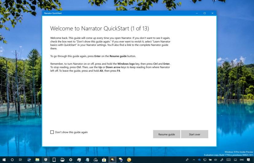 Narrator QuickStart experience on Windows 10 version 1809