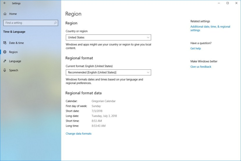 Regional format settings on Windows 10 Redstone 5