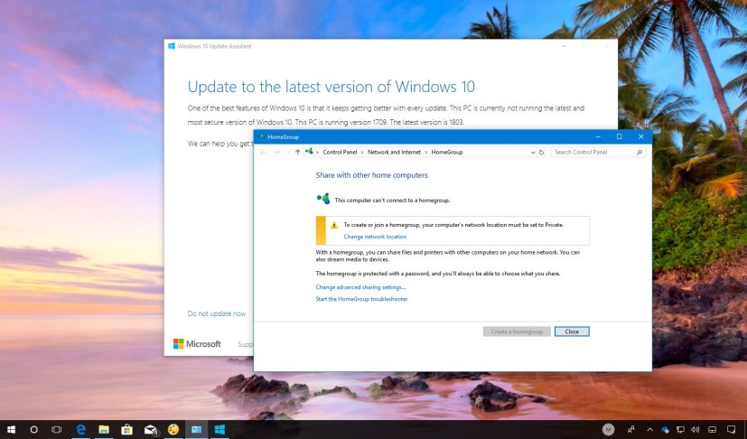 Windows 10 version 1803 features removed