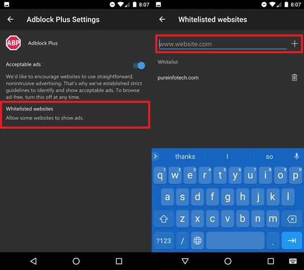 Microsoft Edge mobile Adblocker Plus whitelist settings