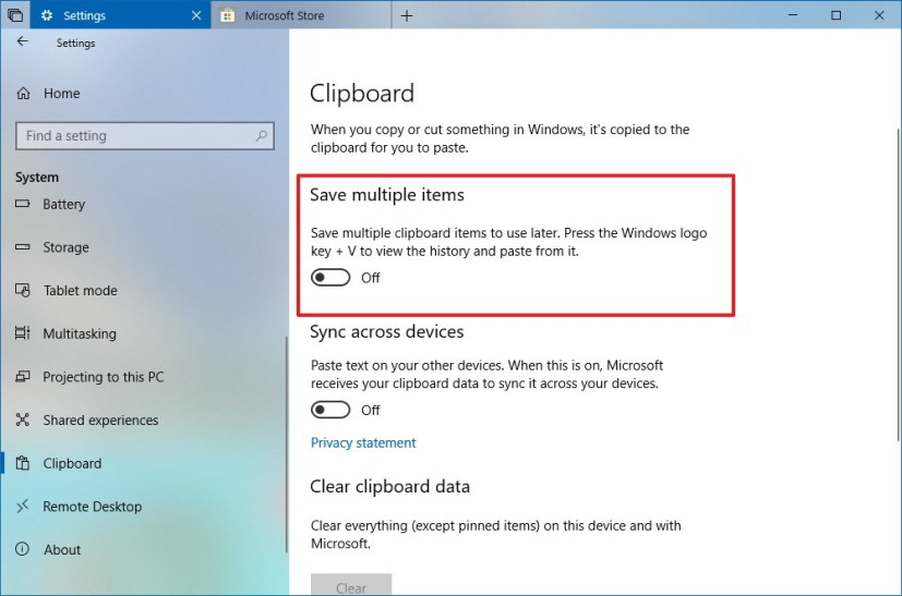 Completely clear dipobard history on Windows 10 version 1809