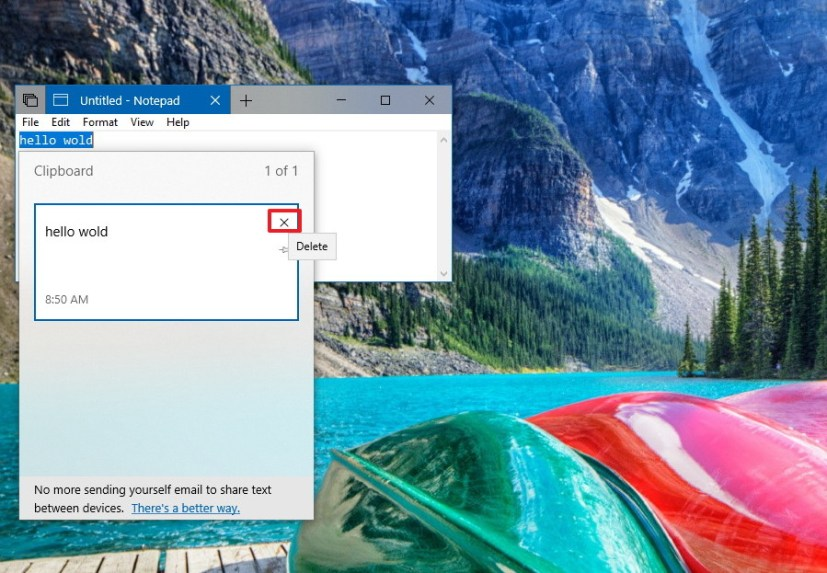 Delete clipboard items individually on Windows 10