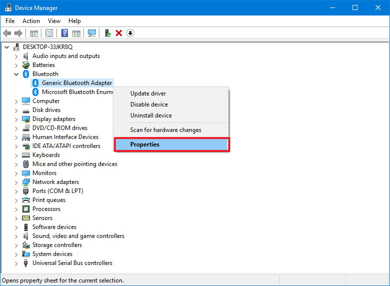 Device Manager Bluetooth category