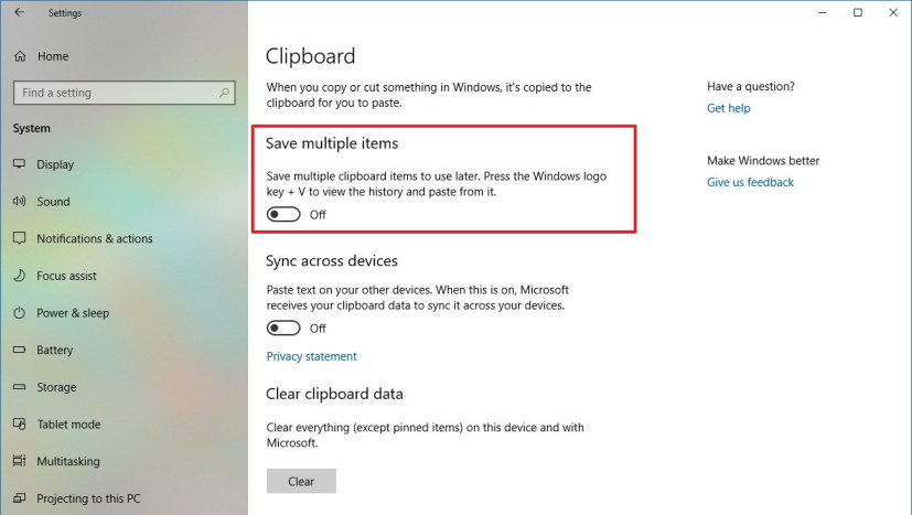 Disable clipboard experience on Windows 10