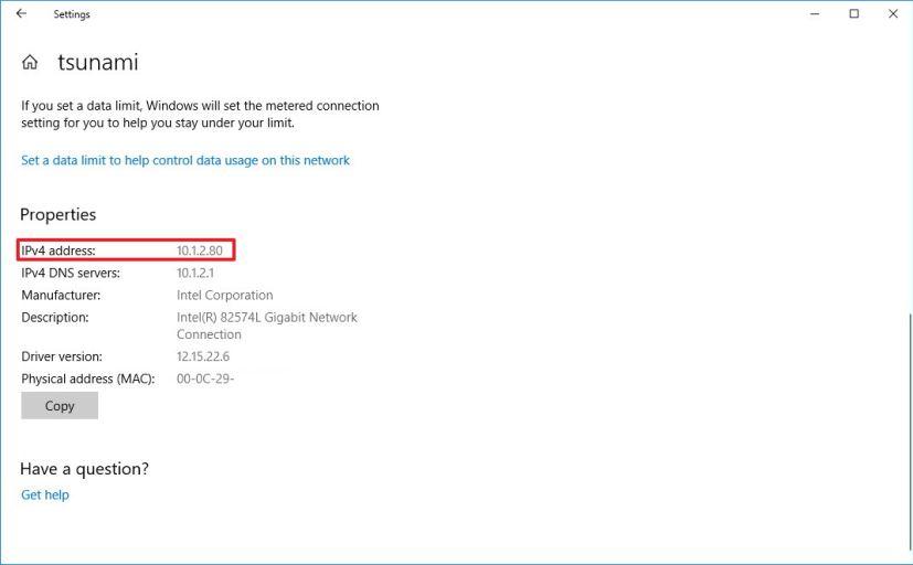 IP address information on Settings app