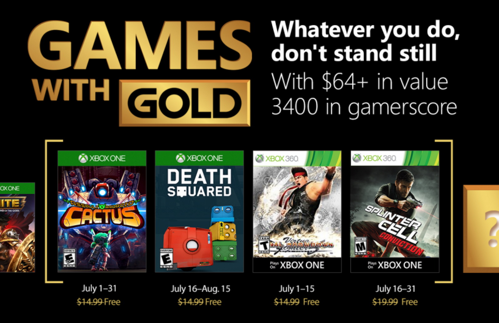 Xbox Games with Gold July 2018