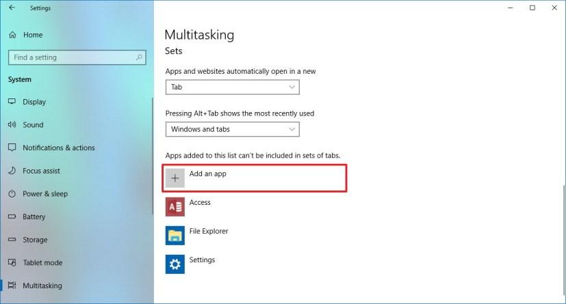 Sets settings on Windows 10